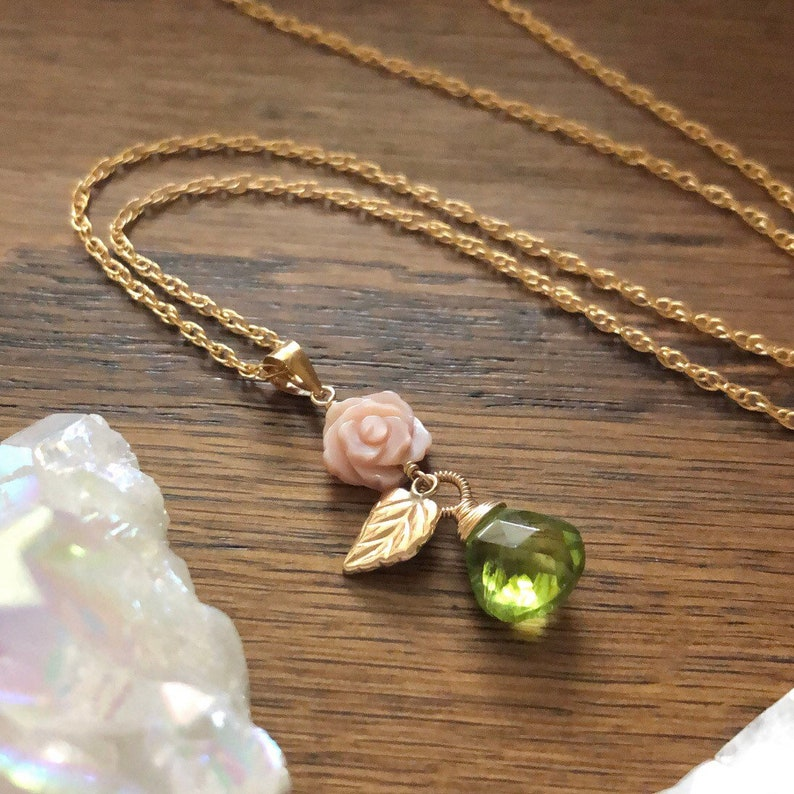 14kt Gold Filled Carved Mother of Pearl Rose Necklace with Peridot Gemstone Drop and Gold Leaf Charm