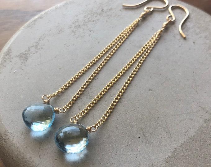 Sky Blue Topaz Elegant Chain Drop Earrings - Light Blue Dewdrops on 14kt GF Curb Chain