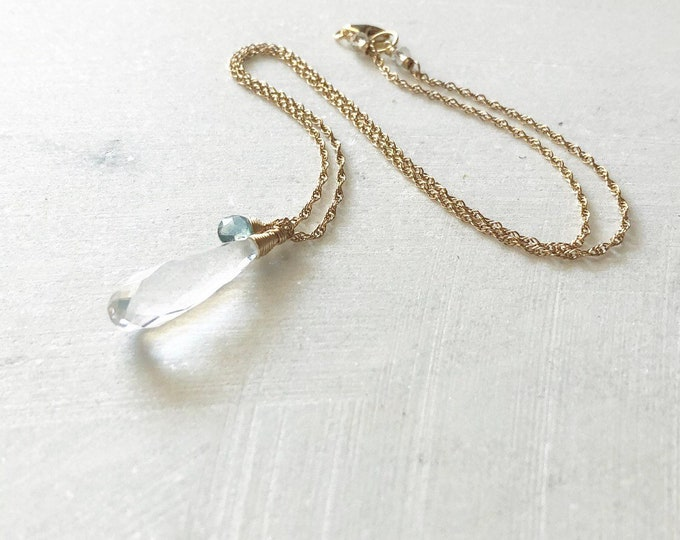Rock Crystal Quartz Elongated Teardrop and Blue Green Tourmaline Charm Necklace, Wire-Wrapped Gemstones on Dainty Gold-Filled Chain