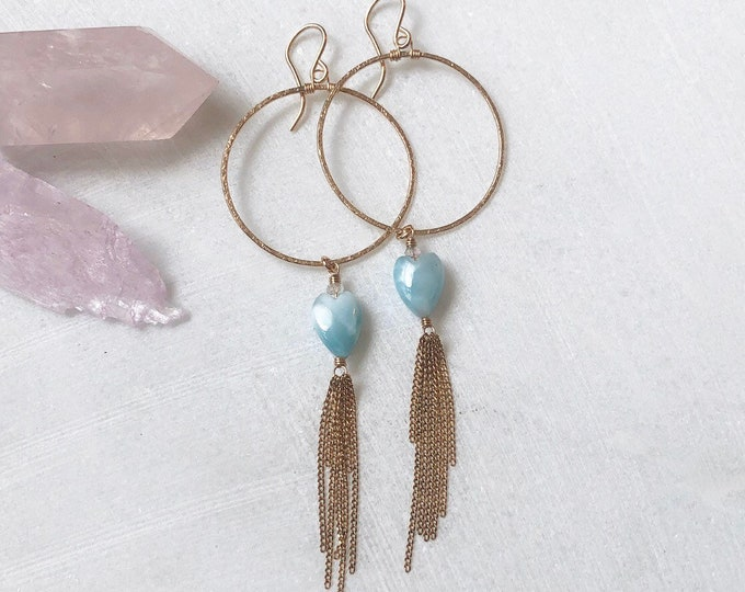 Hammered Gold Circle Earrings with Larimar Hearts and Tassels, 14kt GF