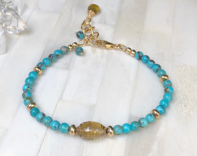 Arizona Turquoise and Citrine Bracelet, 14kt Gold-Filled Accents