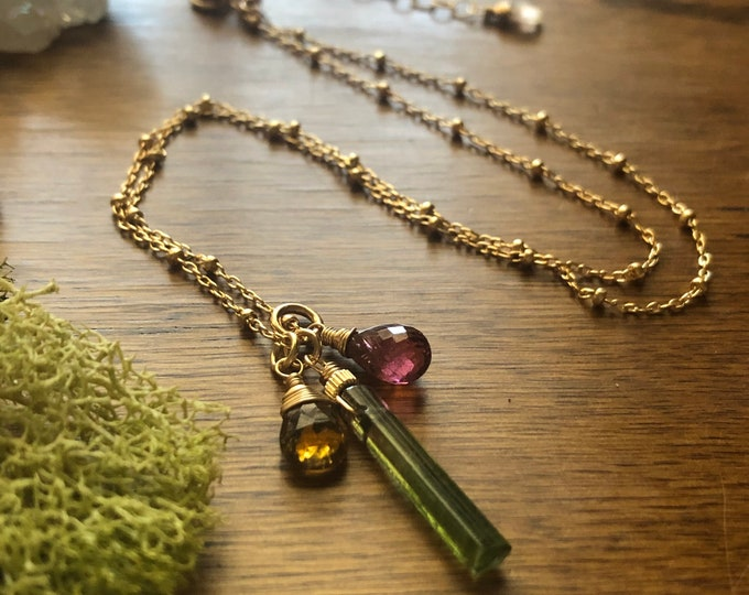 Green Tourmaline Stick, Golden Tourmaline Pear, and Pink Tourmaline Teardrop Charm Necklace, Wire-Wrapped Gemstones on Dainty Gold Chain