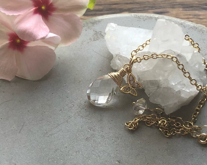 Rock Crystal Teardrop Necklace with Pavé Butterfly Charm - 14kt Gold-Filled Chain