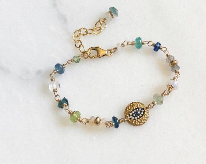 "Lucky ""Evil Eye"" Multi-Gemstone Link Bracelet, Emerald, Peridot, Sapphire, Topaz, Opal, Labradorite, Tourmaline, and More - 14kt GF"