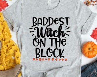 d76754a5 Halloween Tshirt, Baddest Witch On The Block Tshirt, Plus Size Tshirt, Halloween  Tshirt, Plus Halloween Tshirt, Boo Shirt, Plus Fall Tshirt