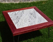 Purpleheart and Marble Coffee Table with Hairpin Legs
