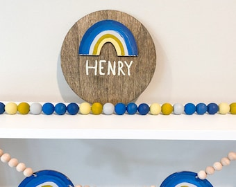 Rainbow Theme Baby Name Sign for Boy - Circle Baby Name Sign with Blue Rainbow