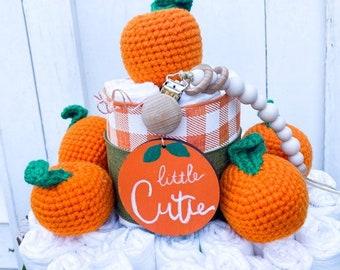 Little Cutie Diaper Cake - Little Cutie Theme Baby Shower Centerpiece