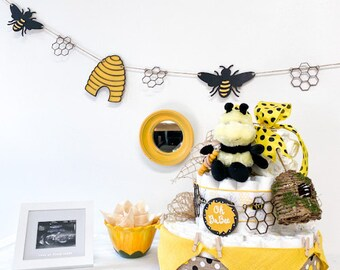 Bee Theme Diaper Cake - Oh BaBee Theme Baby Shower Centerpiece