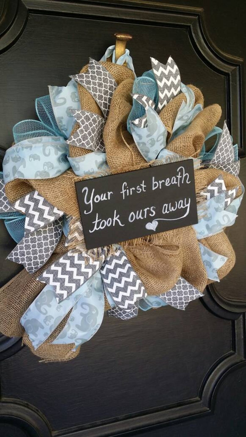 Welcome Baby Wreath Boy Nursery Elephant Nursery Blue Gray Etsy