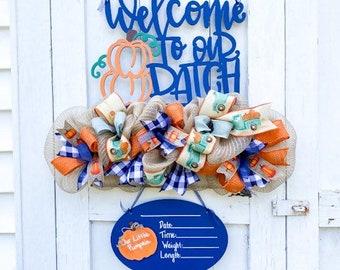 Pumpkin Theme It's a Boy Door Hanger - Pumpkin Patch Theme Baby Announcement-It's a Boy Sign