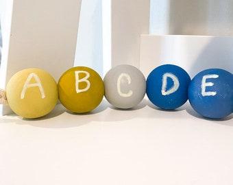 ABCs Wood Bead Garland in Rainbow Blues - Rainbow Bead Garland for Nursery Decoration