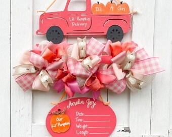 Little Pumpkin Baby Shower Sign - Pumpkin Theme It's a Girl Sign