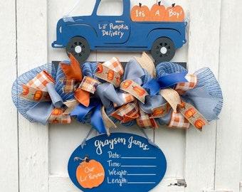 Little Pumpkin Baby Shower Sign - Pumpkin Theme It's a Boy Sign