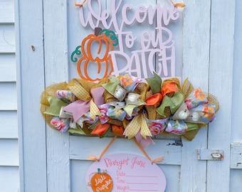 Pumpkin Theme It's a Girl Door Hanger - Pumpkin Patch Theme baby Name Sign