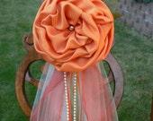Orange Pew Bows, Chair Bows, Elegant Wedding Bows Church Aisle Decorations Pew decoration, Wedding fall decoration,