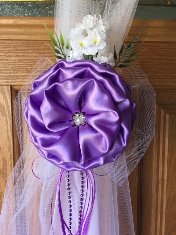 Lilac Lavender Silver Pew Bows Chair Bows Elegant Wedding Etsy