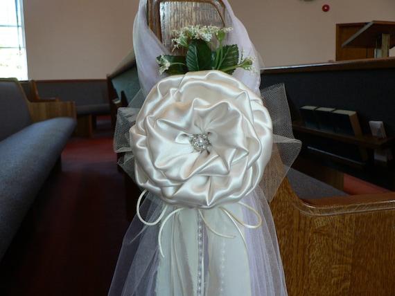 Set of 10 Ivory Pew Bows Chair Bows Elegant Wedding Bows   Etsy