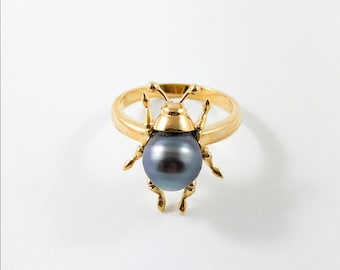 8c3adda26 Beetle bug insect Tahitian pearl 14k yellow gold ring Size 7 US - Ready to  ship or resize