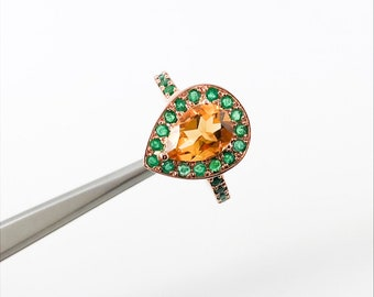 Citrine pear and emerald halo rose gold alternative engagement ring - Customise size, halo gemstones and gold colour