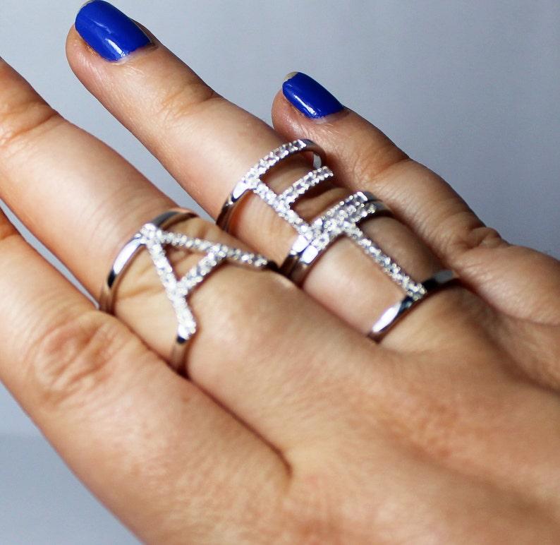 white diamond,black diamond,emerald,aquamarine,ruby,garnets... CHOOSE YOUR STONES Solid silver 925 double bar A-Z initial ring