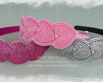 Hearts Bookmark, Headband Slider or Feltie In The Hoop Machine Embroidery Design