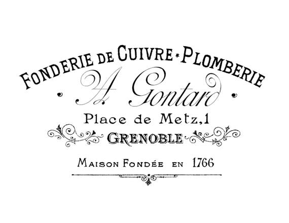 Vintage Advert French shabby chic transfer or sticker  decoupageTypography