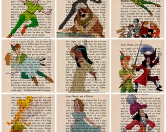 Peter Pan Dictionary  Art Vintage Print choice of 30 pictures  Wendy Tinkerbell Captain Hook Lost Boys Tiger Lilly