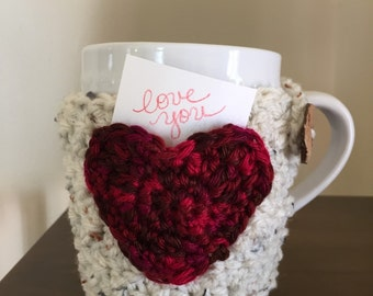 Valentine Heart Pocket Cozy Mug Sweater | Coffee | Tea | Cocoa | Cider