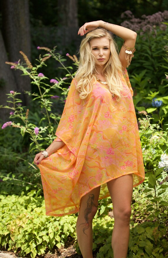 ad7b16ae26 NEW Orange Kaftan Silk Kaftan Dress Beach Caftan | Etsy