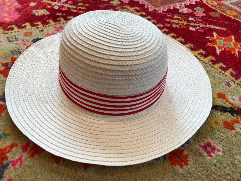 81e90952 Red and White Bohemian Hat Straw Hat Striped Hat Sun Hat | Etsy