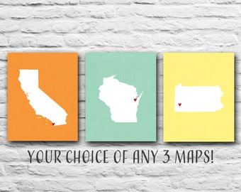 Set Of 3 Three 8x10 State Prints Country Family Prints States Map Prints Personalized Home Decor Military Travel, Where We've Lived, Gift