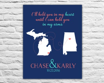 Long Distance Relationship Christmas Gift for Girlfriend, Fiance, Wife, Military Deployment, Love Custom Gift, Personalized Art Print State