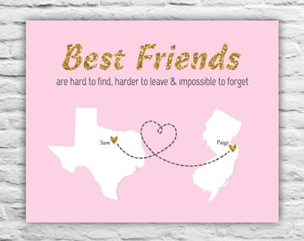 Best Friends Gift - Best Friend Long Distance Print - 8x10 Glitter Custom Maps, Cousin, Sister, Personalized Friendship, Pink and Gold