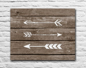 Tribal Arrows - Rustic Nursery Decor Graduation Gift Wall Art Print Gift For Best Friend Present Inspirational Quote - Wood Art Chalk