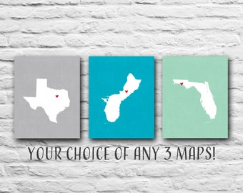 3 PRINTS Mother's Day Gift from Daughter, 8x10 States Maps, Gift for Mom Personalized Map Military Family, Military Wife - Where We've Lived