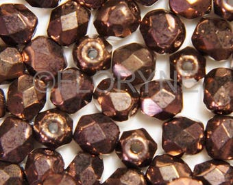 20 faceted, 4mm Smoked Topaz Swarovski Crystal beads