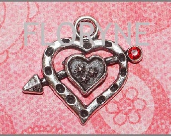 Pendant, crafted, silver Metal with red Rhinestone Heart Charm