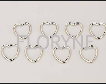 8 / 40 heart, open silver plated 10Mm rings