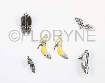 6 pumps and sandals, silver plated charms