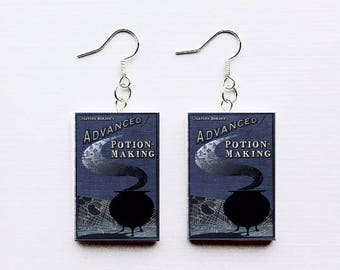 Advanced Potion-Making mini book earrings