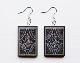 Peter Pan mini book earrings