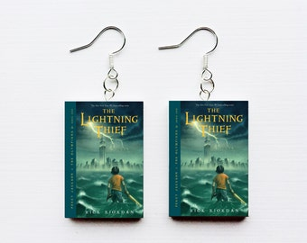 Percy Jackson the lightning thief mini book earrings
