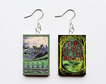 Hobbit mini book earrings