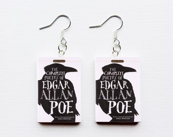 Edgar Allan Poe mini book earrings