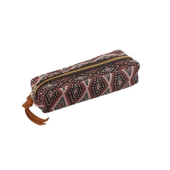 29e49ec60700 Pencil case / Leather / Ethnic fabric travel etui / Bag in bag / Pencil bag  / School bag / Pen pouche / etui for pens and other Stationary