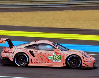 9c076797fc5 Porsche 911 RSR no92 pink pig racing at The 24 Hours of Le Mans endurance  race 2018 in France landscape photograph color art photo print