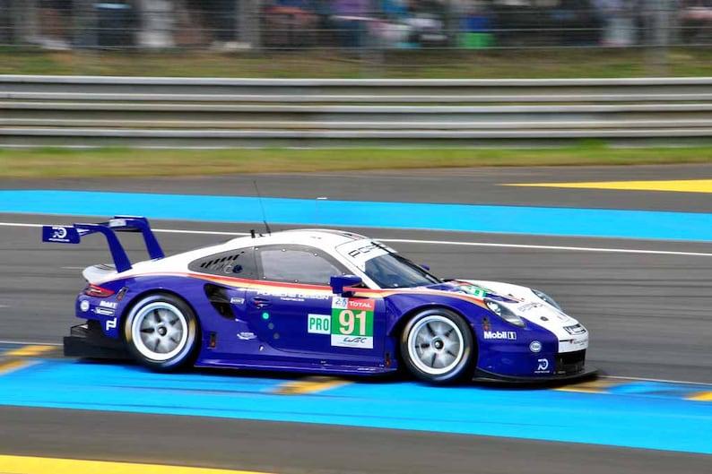 Porsche 911 RSR no91 24 Hours of Le Mans endurance race 2018 in France motor sport landscape photograph color art photo print