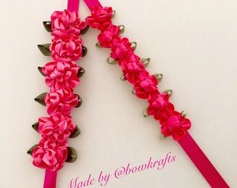 Fucsia hair bun flower wreaths