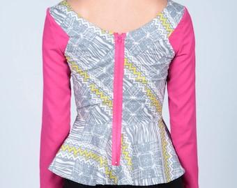 African Print Peplum Top, Ankara Print Top, Pink Print Top, Women's Top, Cotton print Blouse